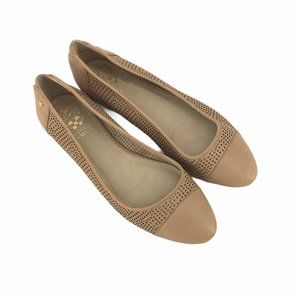Vince Camuto tan perforated ballet flats size 7